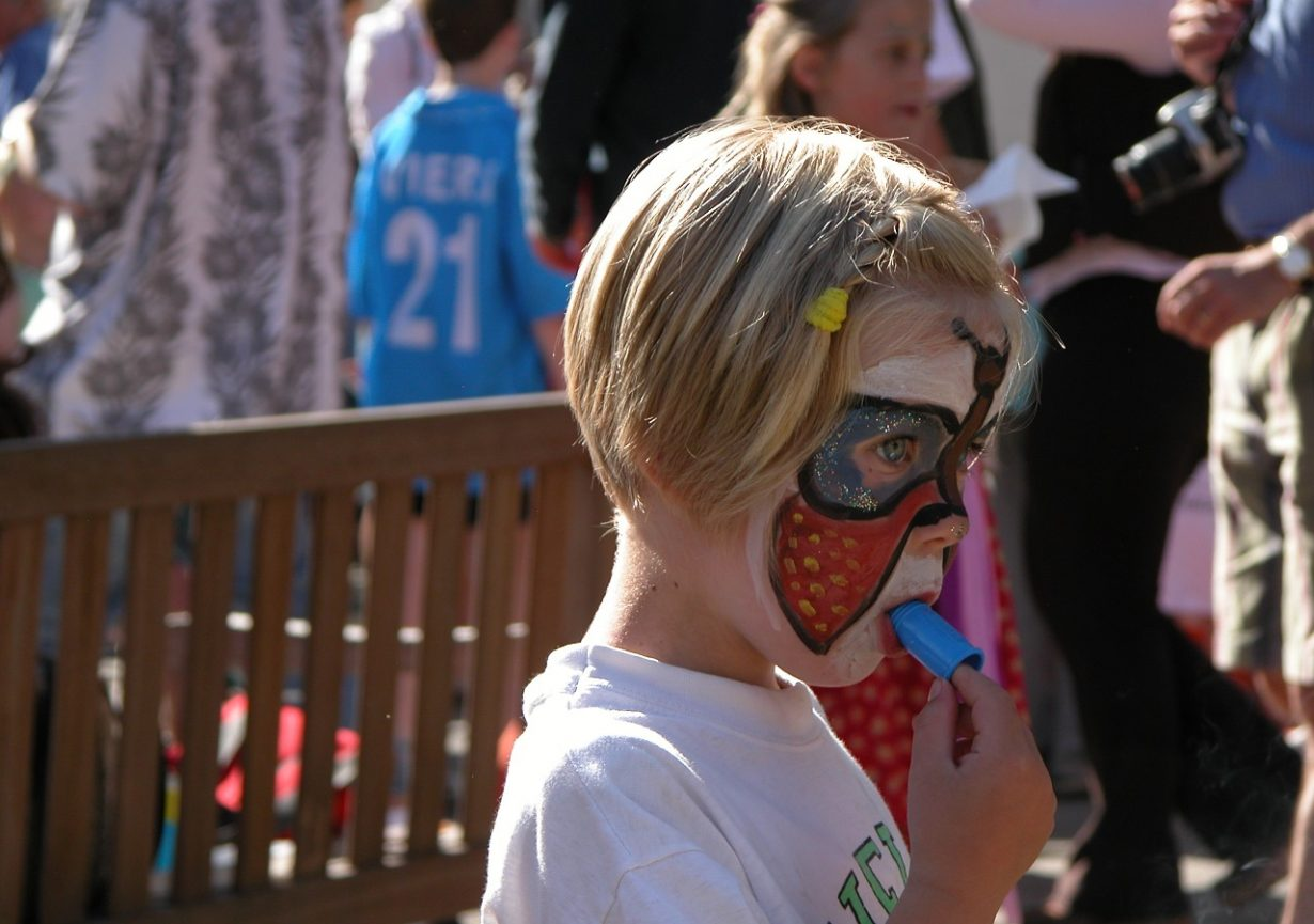 Child Face Painting Party Young School Whistle
