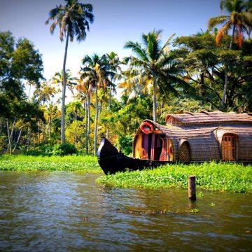 Water Boats Trees Coconuts Kerala Houseboats
